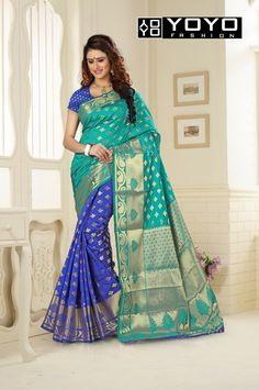 37c9fe7cc9ed3 Designer Blue   Firozi Jacquard Saree-Best Ethnic Wear By