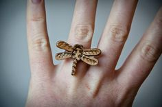 Dragonfly ring  with handmade olive wood dragon by SilviaWithLove, €16.00