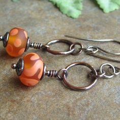 Orange Lampwork Bead Copper Sterling Silver Earrings by Ctbydonna, $34.00
