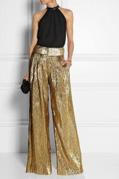 blusa e pantalona de festa Oscar de la Renta | Silk-blend lamé wide-leg pants | NET-A-PORTER.COM