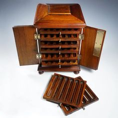Antique Victorian Wood Cigar Caddy Box, Table Top Cabinet, Lockable : The Antique Boutique ® | Ruby Lane Antique Wooden Boxes, Wood Watch, Victorian, Antiques, Wooden Clock, Antiquities, Antique, Old Stuff