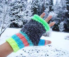 Neon gloves women fingerless gloves mittens fall por RainbowMittens