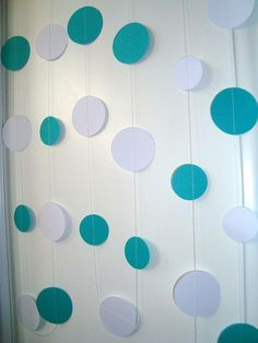 Paper Garland Turquoise White Circles 34 ft Wedding by Wcards, $28.00