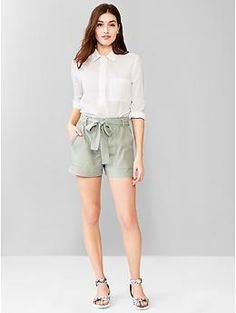 Tencel® tie-waist shorts   Gap