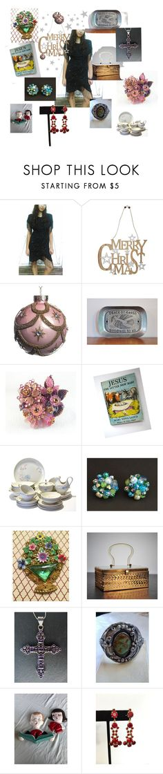 """""""Come to our party!"""" by renee-worthen ❤ liked on Polyvore featuring Laurence Kazar, M&Co, vintage, vintagejewelry, vintagegifts, antiquejewelryforfun and etsyevolution"""