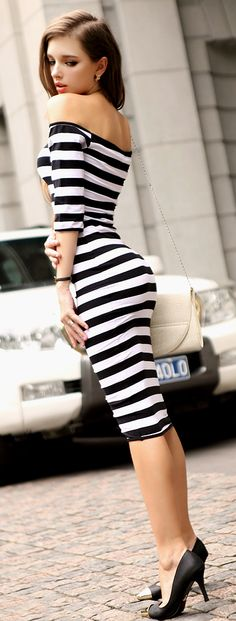I don't like the off the shoulder, but love the rest of this dress. Stripes bodycon midi dress