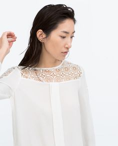 ZARA - ΓΥΝΑΙΚΕΙΑ - ΤΟΠ ΜΕ ΣΥΝΔΥΑΣΜΟ ΓΚΙΠΟΥΡ Turquoise, Zara United States, Spring Trends, All White, Zara Women, Knitwear, Style Inspiration, Lace, Womens Fashion