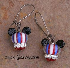 4th of July American Mickey Mouse Style Disney Inspired Lampwork DeSIGNeR Earrings Patriotic Flag USA
