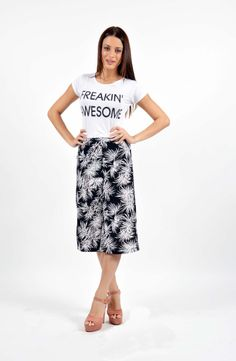 Leaf Print Παντελόνα Boutique Stores, Leaf Prints, Midi Skirt, Skirts, Fashion, Moda, Midi Skirts, Fashion Styles, Skirt