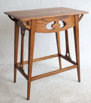Antique Occasional Tables, An Arts & Crafts Oak Side Table. Made of solid and well-figured oak, this Arts & Crafts side table is enlivened with a wealth of piercings to the aprons, brackets and slats. Hall Tables, Stool, Arts And Crafts, Antiques, Furniture, Google Search, Home Decor, Antiquities, Antique
