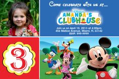 Mickey Mouse Clubhouse  Birthday Party Invitations by Mrsinvites, $6.99