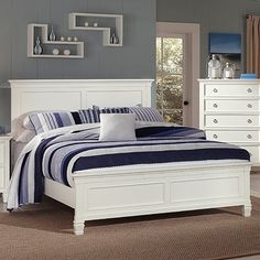 New Classic Tamarack Panel Bedroom Set in White Headboard And Footboard, Headboards For Beds, Full Headboard, Panel Headboard, White Bedroom Furniture, Furniture Sets, Adams Furniture, Furniture Market, Farmhouse Furniture