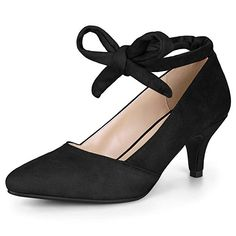 8c8ed8f28ca5 Allegra K Women s Pointed Toe Lace Up Kitten Heel Black Pumps - 8 M US