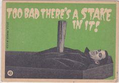 "ronaldcmerchant: "" 1965 bubble gum card with art by Robert Crumb! Halloween Forum, Art Walk, Comic Movies, Vintage Valentines, Vintage Cards, Vintage Halloween, Pop Culture, Creepy, Horror"