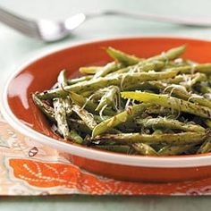 Roasted Parmesan Green Beans Recipe from Christie Ladd in Mechanicsburg, Pennsylvania  from Healthy Cooking magazine green-beans-with-a-twist