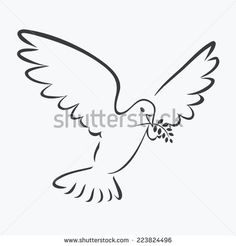 dove with olive branch outline illustration vector