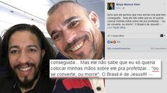 """Pastor posta foto com Jean Wyllys e faz ameaça: """"Ou se converte ou morre"""""""