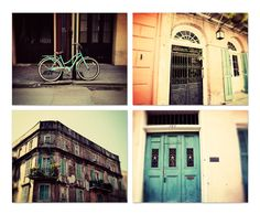 new orleans photography collection - french quarter art, new orleans doors, teal decor, orange decor, architecture, set of 4 photographs by eireanneilis on Etsy https://www.etsy.com/listing/175693206/new-orleans-photography-collection
