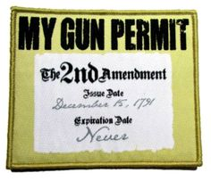 """[Single Count] Custom, Cool & Awesome {4"""" x 3.25"""" Inches} Rectangle Adult Humor US Armed Forces My Gun Permit Is The 2nd Amendment Badge (Tactical Type) Velcro Patch """"White, Yellow & Black"""""""