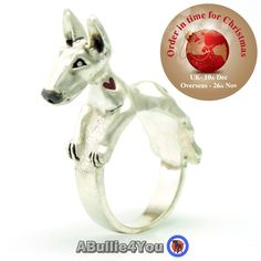 English Bull Terrier Dog Ring Sterling Silver (Can be customized to resemble your own dogs markings) Ideal Christmas Gift by ABullie4You on Etsy https://www.etsy.com/listing/236486684/english-bull-terrier-dog-ring-sterling