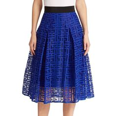 MILLY Mesh Overlay Midi Skirt ($310) ❤ liked on Polyvore featuring skirts, apparel & accessories, cobalt blue, milly skirt, pleated skirt, blue pleated skirt, midi skirt and mid-calf skirt