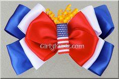 Firecracker Hair Bow Patriotic Hair Bow 4th of July Bow via Etsy