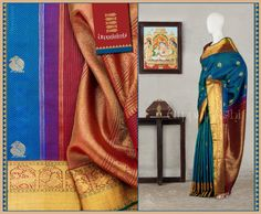 Peacocks ride the waves on the body. Mythical beasts and majestic elephants on the pallu lend solidarity to the dainty pakshis and beasts on the golden borders.#Utppalakshi #Silksaree#Kancheevaramsilksaree#Kanchipuramsilks #Ethinc#Indian #traditional #dress#wedding #silk #saree #weaving#Chennai #boutique #vibrant#exquisit#weddingsaree#sareedesign #colorful #vivid #indian #southindian #bridal #festival #sophistication   https://www.facebook.com/Utppalakshi/   Contact: 097899 37149