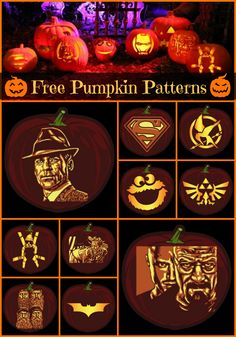 DIY Free Printables - From beginner to advanced we have great pop culture inspired carved pumpkin patterns