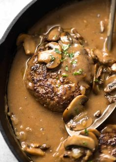 A juicy Salisbury Steak recipe with Mushroom Gravy Salisbury Steak Sauce. Easy to make with a restaurant trick for an extra tasty gravy! beef recipes Salisbury Steak with Mushroom Gravy Salisbury Steak With Mushroom Gravy Recipe, Salisbury Steak Recipes, Steak With Mushroom Sauce, Salisbury Steak Meatballs, Salsbury Steak Gravy, Homemade Salisbury Steak, Salisbury Steak Recipe Pioneer Woman, Sauce Steak, Steak Sauce Recipes