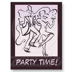 Retro jazz age line art deco couple dancing party time customizable postcards $1.15