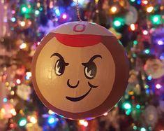 Buckeye Tree, The Buckeye State, Ohio State Football, Ohio State Buckeyes, College Football, Christmas Tree Bulbs, Christmas Crafts, Football Crafts, Seasonal Decor