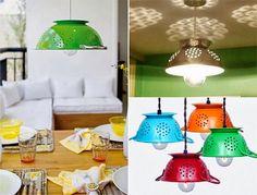 Lámpara escurridor, encuentra el paso a paso y los materiales para crear esta manualidad aquí...http://www.1001consejos.com/lamparas-recicladas/
