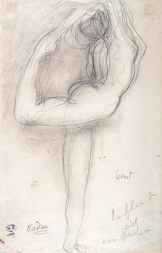 The quality of the line is what makes drawings by French artist Auguste Rodin so interesting. Rodin is famous for his expressionistic sculpt. Auguste Rodin, Life Drawing, Figure Drawing, Rodin Drawing, Antoine Bourdelle, Rodin Museum, Camille Claudel, French Sculptor, How To Make Drawing