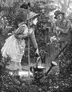 Gardening. Victorian illustration showing a young girl in her flower garden with a hoe and large watering can. She stands beside a flower bed full of geraniums and a tall lily talking to a man who leans over the garden gate.