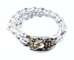 Vintage Crystal Bead Bracelet Art Deco Style Rhinestone Clasp Multi Strand Faceted glass crystal beads with aurora borealis finish AB