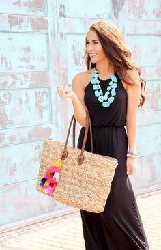 2f4f61a90c Black Maxi and Tassel Beach Bag - Sunshine & Stilettos Blog Beach Outfit  For Women,