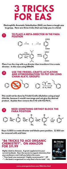 three tricks to help you with EAS in organic chemistry…more at www.aceorganicc… three tricks to help you with EAS in organic chemistry…more at www. Organic Chemistry Reactions, Chemistry Help, Study Chemistry, Chemistry Notes, Science Chemistry, Physical Science, Science Education, Science And Technology, Chemistry Lessons