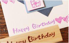 """Stempel  DIY  """"happy Birthday"""" scrapbooking von Schmuck, Ohrringe, Halsketten, Armbänder auf DaWanda.com"""