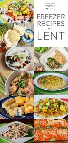 Meal plan for this season with simple meatless and fish freezer recipes for Lent.