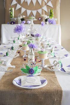 Purple Princess party table decor Georgia's birthday