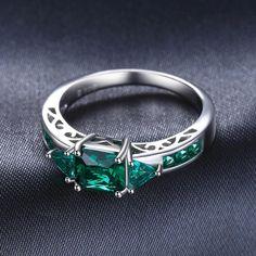 1.3ct Nano Russian Simulated Emerald Statement Ring 925 Sterling Silve                      – Jewelz Galore