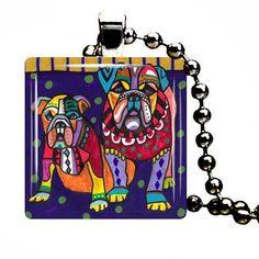 Bulldog Dog Necklace Jewelry Angel Pop Folk Art Modern