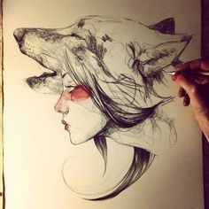 35 New ideas for tattoo wolf desing spirit animal princess mononoke Drawing Sketches, Art Drawings, Sketch Art, Pencil Drawings, Sketching, Paula Bonet, Drawn Art, Arte Sketchbook, Bild Tattoos