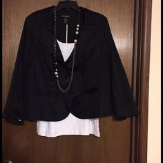 Lane Bryant 16 blazer jacket black Lane Bryant black blazer, jacket. Satin/ cotton material. Size 16, 0x. Excellent condition. Wore once. Love this and hate to see it go. Needs a good home. No holes, rips or pilling. Lane Bryant Jackets & Coats Blazers