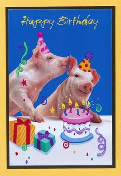Pig card with a birthday theme featuring a Birthday Cake and Two pigs ~' whispering sweet nothings'. Yellow card with a white envelope. Card size: A5 ~ 8in x 6in approx [210mm x 145mm]. Product Price: £3.00 plus postage ~ will post worldwide. Product ID: 7248