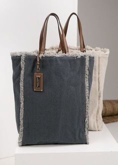 - Woman -Canvas shopper bag - Woman - Barneys New York Beach Tote - Totes - 504723497 Mail - Thogmartin, Clyde O - Outlook - Her Crochet Sailor - Beach Bag by Vinge Project Canvas shopper bag Certifa 1005 Vintage Hand Bag with Leather Handles Sacs Tote Bags, Reusable Tote Bags, Men's Bags, Canvas Shopper Bag, Diy Sac, Denim Crafts, Recycle Jeans, Denim Bag, Fabric Bags