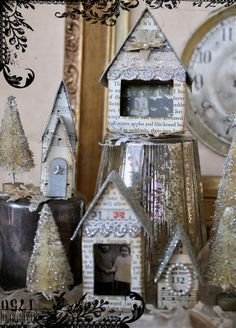 One Lucky Day: Vintage Village glitter houses