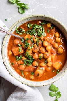 Cozy up with a big bowl of crockpot Moroccan chickpea stew! This stew is made with warming spices like cinnamon and cumin. It's also vegan and gluten-free!