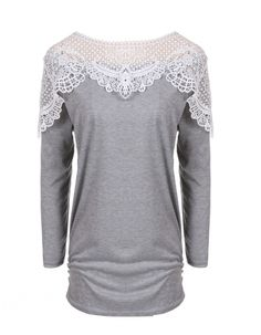 Stylish Fashion Autumn Winter Women Casual Long Sleeve Round Neck Lace Splicing Patchwork Top Blouse_Tees / T-shirt_Women_Women's Fashion Zone & Best Price Clothes