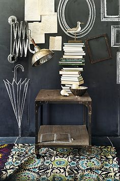 Ok so I love almost everything in this picture - the lamp is fabulous but so is the big stack of books and what's either fabulous wallpaper or, more likely, dark paint with white decals. J'ADORE!!!